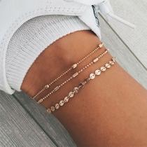 Simple Style Gold/Silver Tone Anklet Set 3 pcs/Set