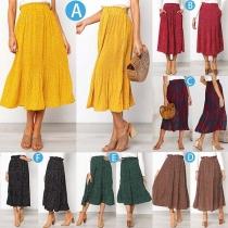 Fashion High Waist Printed Skirt