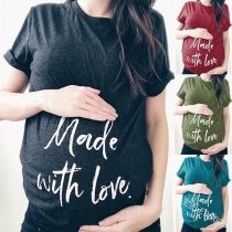 Fashion Letters Printed Short Sleeve Maternity T-shirt