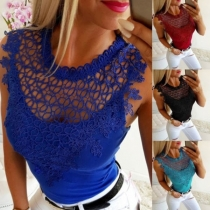 Sexy Hollow Out Lace Spliced Sleeveless Round Neck Tank Top