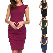 Fashion Sleeveless Round Neck Maternity Dress