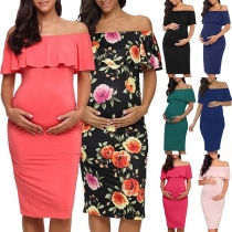 Sexy Ruffle Boat Neck Solid Color Maternity Dress