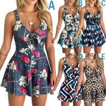 Sexy Deep V-neck High Waist Printed Sling Romper