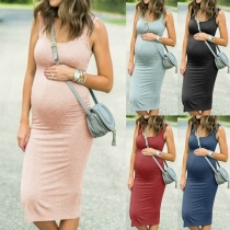 Simple Style Solid Color Sleeveless Round Neck Maternity Dress