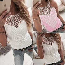 Sexy Hollow Out Lace Spliced Tank Top