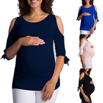 Sexy Off-shoulder Half Sleeve Solid Color Maternity T-shirt