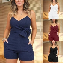 Sexy Backless V-neck Solid Color Slim Fit Knotted Sling Romper