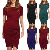 Fashion Solid Color Short Sleeve Irregular Hem Maternity Dress