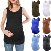 Fashion Solid Color Wrinkled Tank Top for Pregnant Women