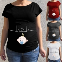 Cute Cartoon Printed Short Sleeve Round Neck Maternity T-shirt
