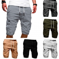 Fashion Solid Color Side-pocket Men's Knee-length Shorts