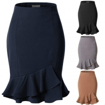 OL Style Solid Color High Waist Ruffle Hem Skirt