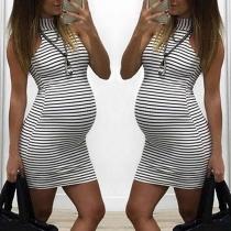 Fashion Sleeveless Mock Neck Striped Maternity Dress