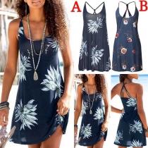 Sexy Backless Printed Sling Beach Dress