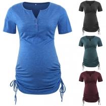 Fashion Short Sleeve V-neck Side-drawstring Maternity T-shirt
