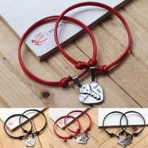 Fashion Heart Pendant Couple Braclet