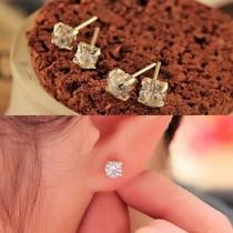 Fashion Rhinestone Inlaid Alloy Stud Earrings