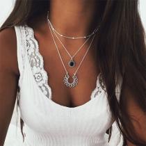 Bohemian Style Lotus Flower Pendant Necklace