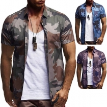 Casual Short Sleeve POLO Collar Camouflage Printed Man's Shirt