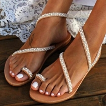 Fashion Flat Heel Rhinestone Inlaid Sandals