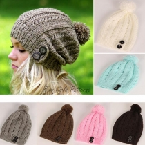 Fashion Solid Color Hairball Knit Beanies