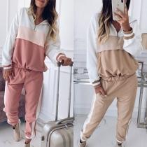 Fashion Contrast Color Hoodie + Pants Thin Sports Suit