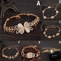 Fashion Rhinestone Opal Inlaid Bracelet