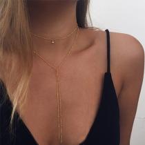 Fashion Long Tassel Pendant Double-layer Necklace