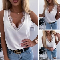 Sexy Lace Spliced V-neck Sleeveless Solid Color Top