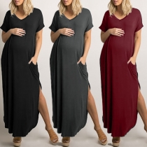 Fashion Short Sleeve V-neck Slit Hem Maternity Dress