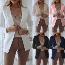 OL Style Long Sleeve Solid Color Slim Fit Blazer