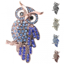 Cute Style Rhinestone Inlaid Owl Shaped Brooch