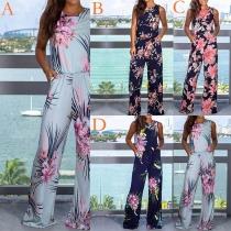 Fashion Sleeveless Round Neck High Waist Printed Jumpsuit