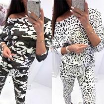 Fashion Camouflage Printed Long Sleeve Sweatshirt + Pants Two-piece Set