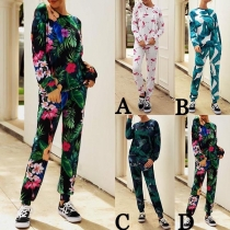 Fashion Long Sleeve Round Neck Printed Sweatshirt + Pants Two-piece Set