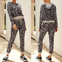 Fashion Leopard Printed Long Sleeve Hooded Top + Pants Two-piece Set