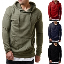 Casual Style Long Sleeve Ripped Solid Color Man's Hoodie