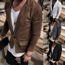 Fashion Solid Color Long Sleeve Notched Lapel Man's Jacket