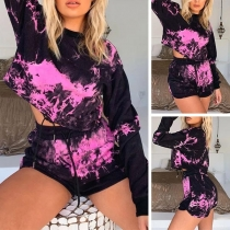 Fashion Long Sleeve Round Neck Printed Top + Shorts Two-piece Set