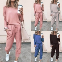 Fashion Solid Color Round Neck T-shirt + Pants Two-piece Set