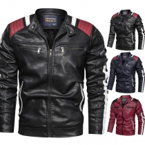 Fashion Contrast Color Long Sleeve Stand Collar Man's PU Leather Jacket