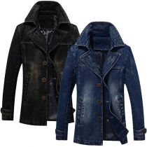Fashion Long Sleeve POLO Collar Man's Denim Jacket