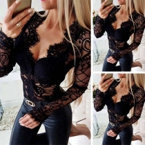 Sexy Deep V-neck Long Sleeve Semi-transparent Lace Bodysuit(It falls small)