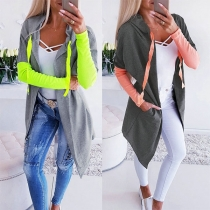 Fashion Contrast Color Long Sleeve Hooded Cardigan
