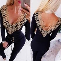 Sexy Lace Spliced Backless V-neck Long Sleeve Bodysuit