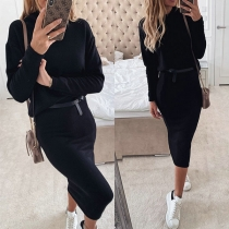 Fashion Long Sleeve High Collar Top + Skirt Two-piece Set