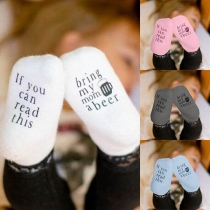 Fashion Letters Printed Breathable Anti-slip Socks for Babies 2 pairs/Set