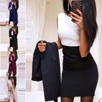 OL Style Long Sleeve Thin Cardigan + Sleeveless Dress Two-piece Set