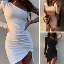 Sexy One-shoulder Long Sleeve Irregular Hem Slim Fit Dress