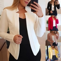 OL Style Long Sleeve Stand Collar Solid Color Blazer